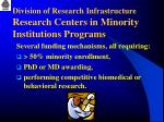 division of research infrastructure research centers in minority institutions programs