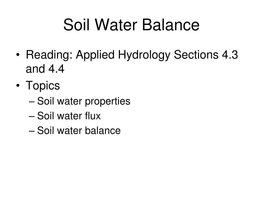 soil water balance l.