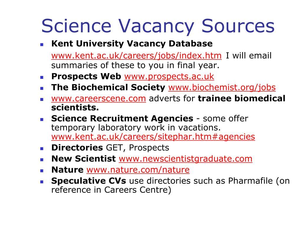 Kent University Vacancy Database