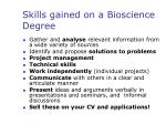 skills gained on a bioscience degree