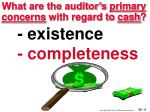 what are the auditor s primary concerns with regard to cash4