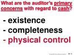 what are the auditor s primary concerns with regard to cash5