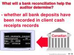 what will a bank reconciliation help the auditor determine35
