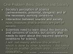 one problem area science and society