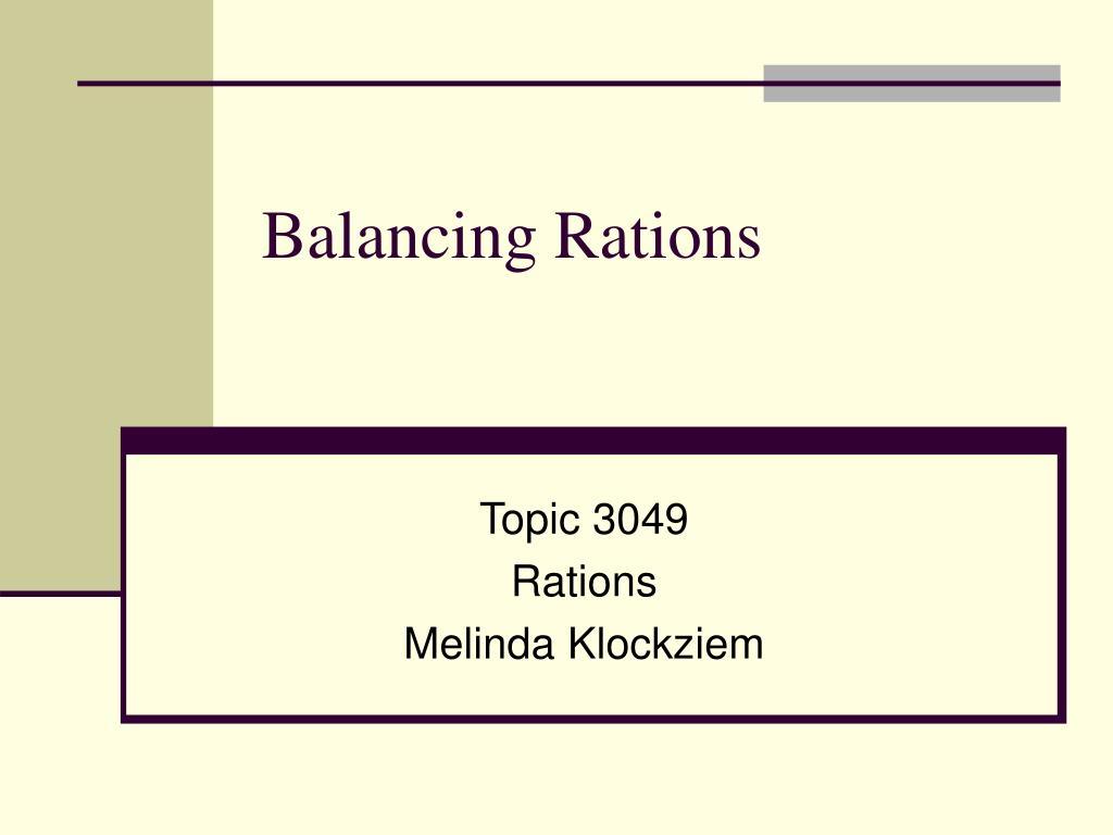 balancing rations l.
