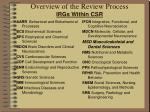 overview of the review process irgs within csr