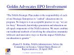 goldin advocates epo involvement
