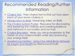 recommended reading further information