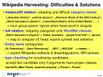 wikipedia harvesting difficulties solutions