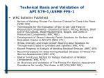 technical basis and validation of api 579 1 asme ffs 115