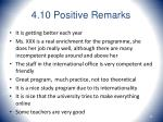 4 10 positive remarks