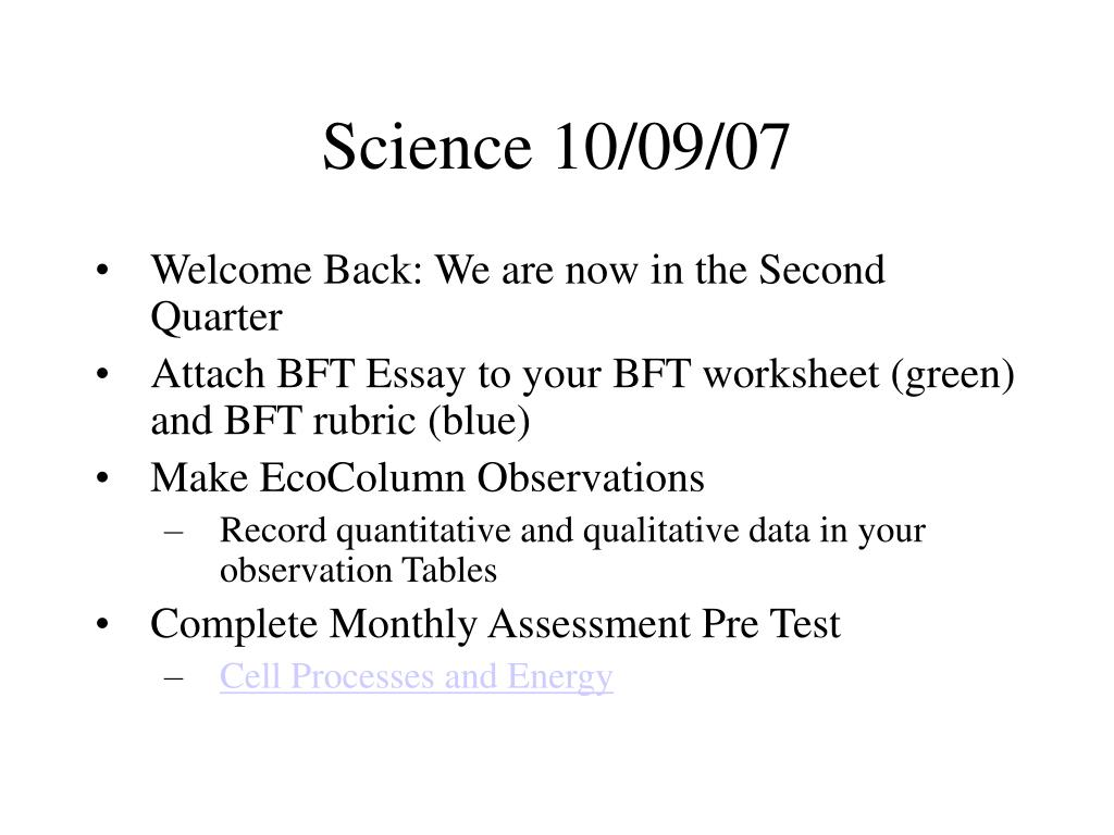 Science 10/09/07