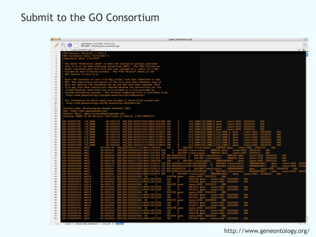 Submit to the GO Consortium