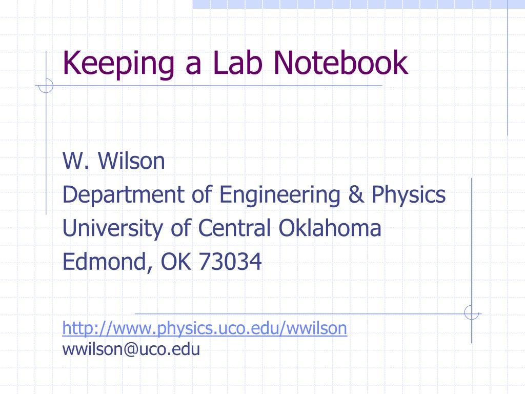 keeping a lab notebook l.