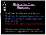 hints to find three hypotheses