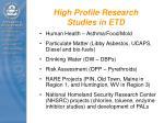 high profile research studies in etd