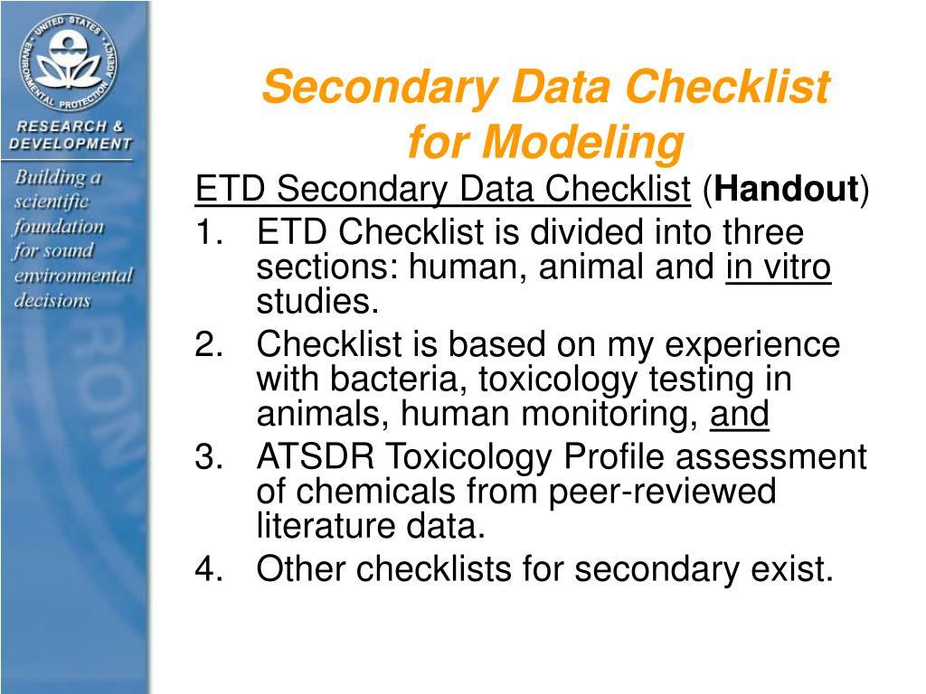 Secondary Data Checklist for Modeling
