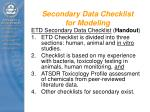 secondary data checklist for modeling
