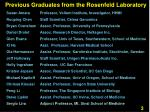 previous graduates from the rosenfeld laboratory