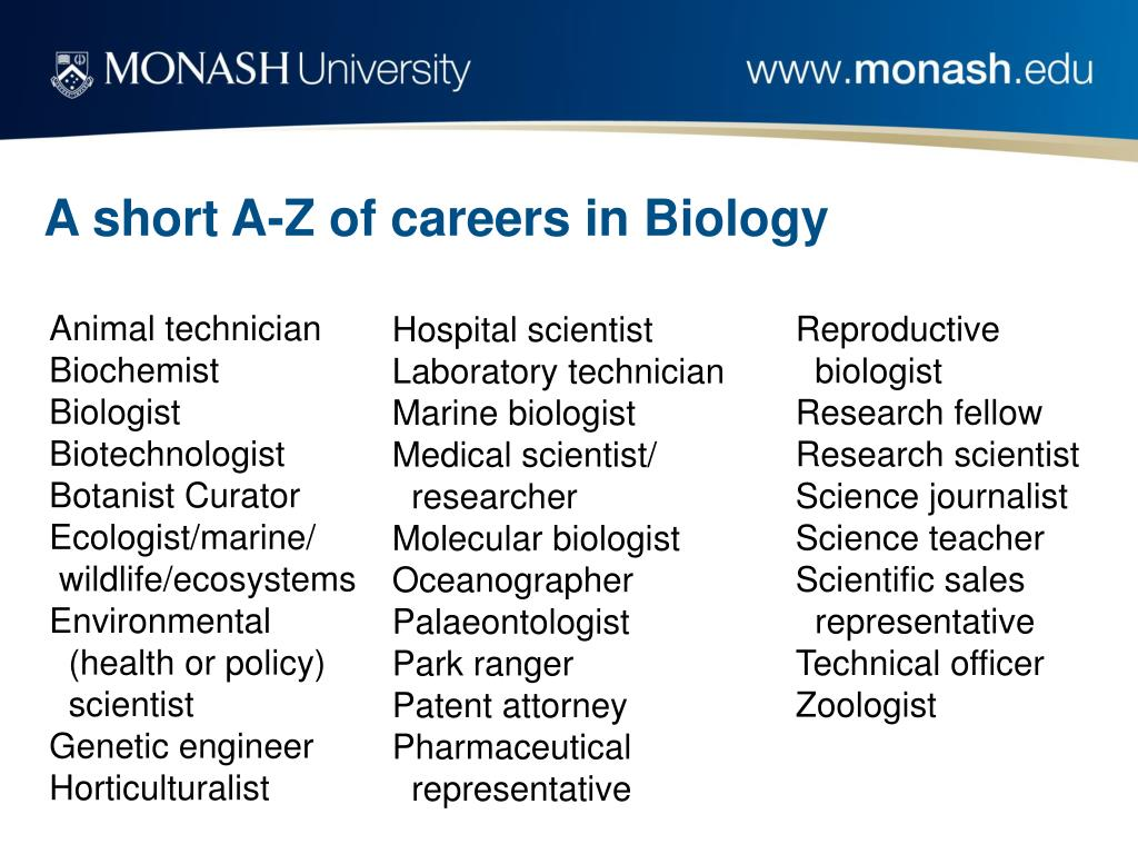 A short A-Z of careers in Biology