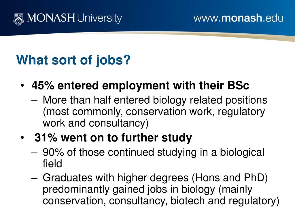 What sort of jobs?
