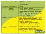 mehasree capsules ingredients