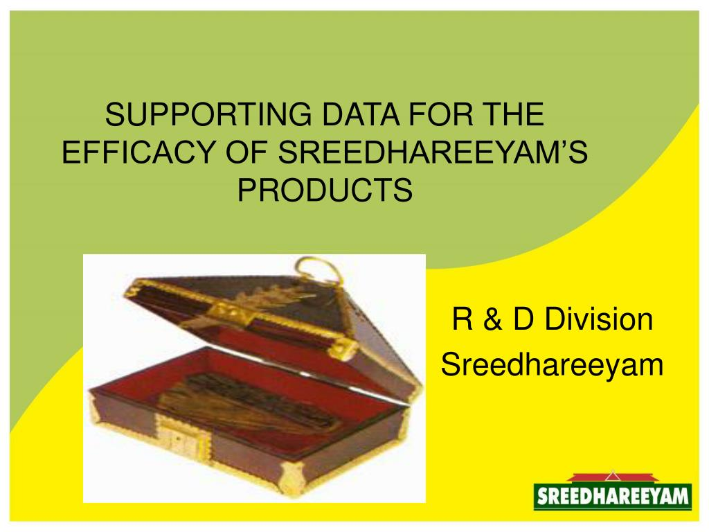 supporting data for the efficacy of sreedhareeyam s products l.