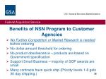 benefits of nsn program to customer agencies