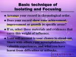 basic technique of isolating and focusing