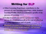 writing for slp