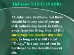 hebrews 3 12 13 nasb