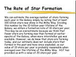 the rate of star formation