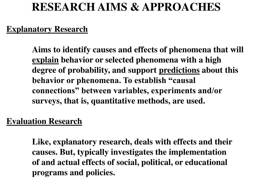 RESEARCH AIMS & APPROACHES