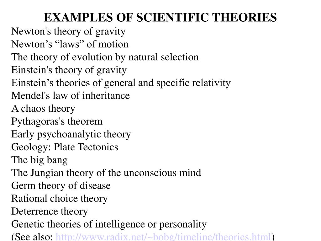 EXAMPLES OF SCIENTIFIC THEORIES