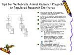 tips for vertebrate animal research projects at regulated research institutes