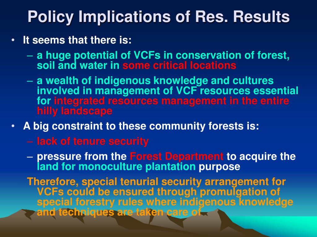 Policy Implications of Res. Results