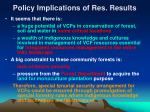 policy implications of res results