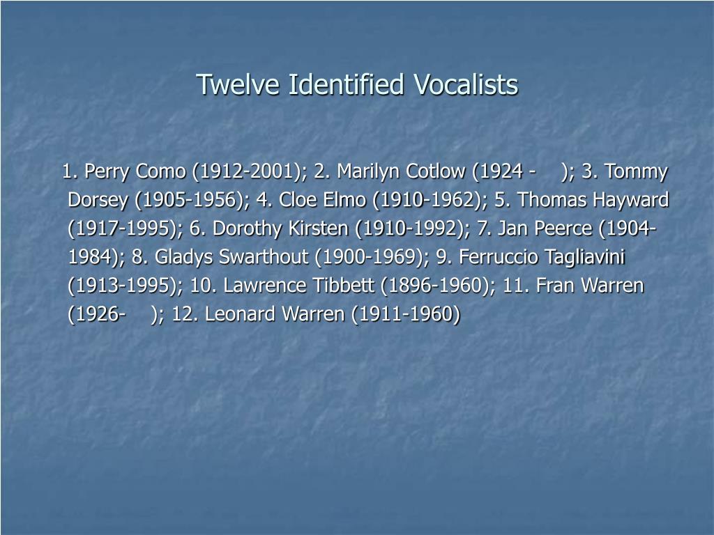Twelve Identified Vocalists