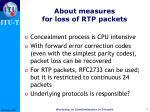 about measures for loss of rtp packets