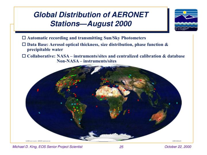 Global Distribution of AERONET Stations—August 2000