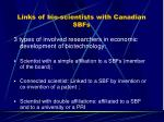links of bio scientists with canadian sbfs