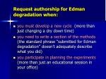 request authorship for edman degradation when