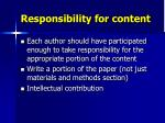 responsibility for content
