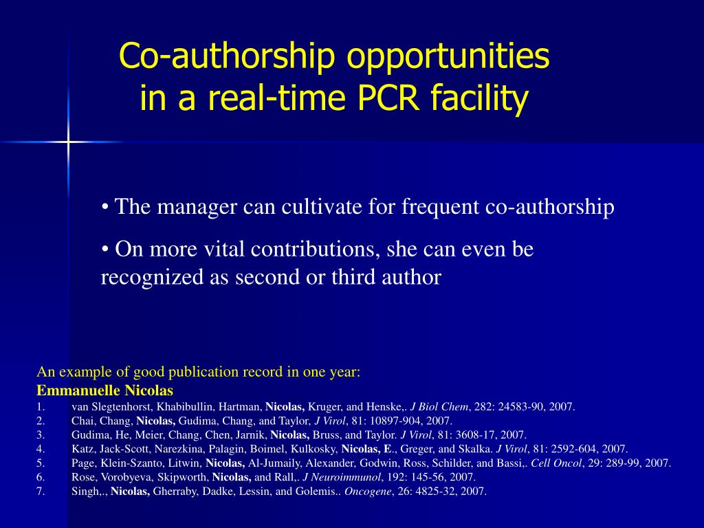 Co-authorship opportunities in a real-time PCR facility