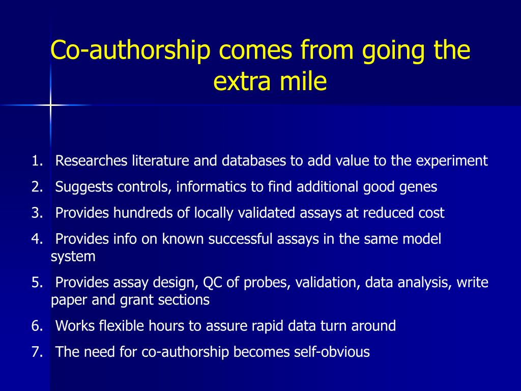 Co-authorship comes from going the extra mile