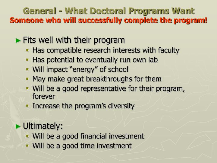 General - What Doctoral Programs Want