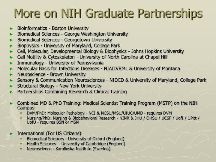 More on NIH Graduate Partnerships