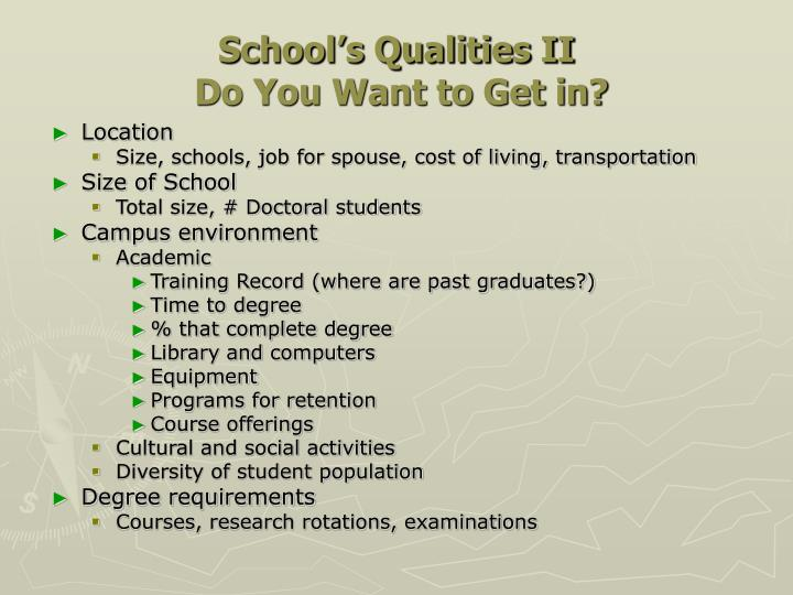 School's Qualities II