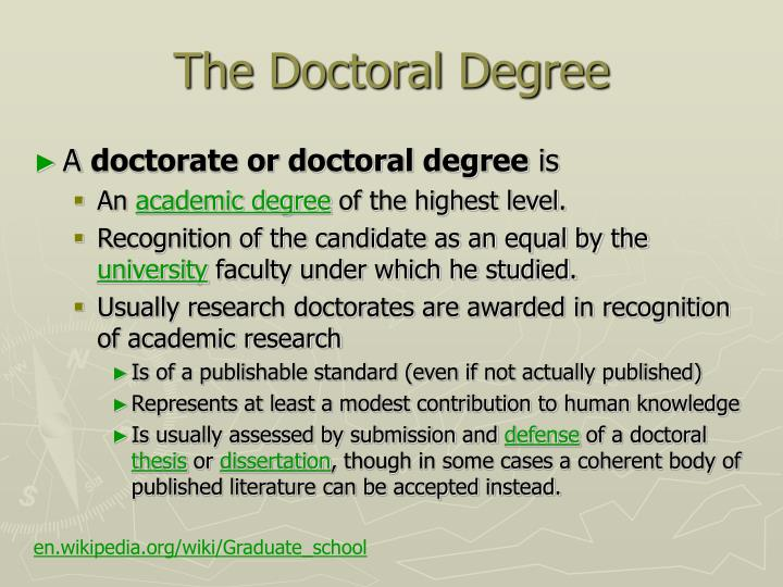 The Doctoral Degree