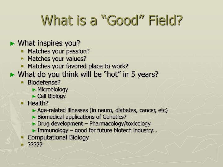 "What is a ""Good"" Field?"